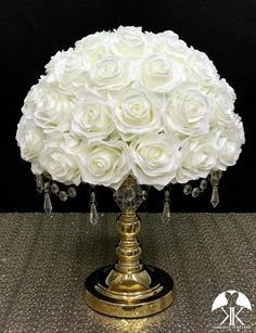 IVORY Rose Arrangement made with PREMIUM Real Touch Silk Roses. IVORY Wedding Centerpiece. Quinceaera. Sweet 16. Bridal Shower. PICK ROSE COLOR! 14 SIZE PICTURED.  GOLD STAND With CRYSTALS Sold Separately Natural Home Decor, Easy Home Decor, Cheap Home Decor, Ivory Roses, Silk Roses, Ivory Wedding, Yellow Wedding, Chic Wedding, Luxury Wedding