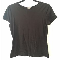 Ann Taylor Black Top In great condition. Made in USA. 91% Nylon, 9% Spandex. Size: X-Small, but runs bigs Ann Taylor Tops