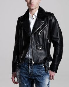 Shearling-Collar Leather Biker Jacket by DSquared2 at Bergdorf Goodman.