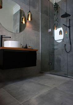 Grey Bathroom Renovation Ideas: bathroom remodel cost, bathroom ideas for small bathrooms, small bathroom design ideas Bathroom Layout, Bathroom Interior Design, Bathroom Ideas, Bathroom Grey, Bathroom Designs, Bathroom Large Tiles, Kitchen Tiles, Glass Bathroom, Master Bathroom