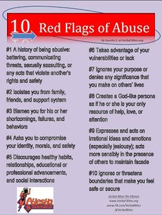 10 Red Flags Of Abuse....Know the signs of abuse before it's too late! #Stop #Domestic #Violence