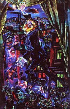"""Death of the Poet Walter Rheiner (1925)"" by Conrad Felixmüller (German , 1897-1977).....Chicago Art Institute"