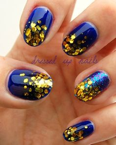 Nail, nail, nail / Navy and Gold!!