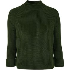 TopShop Petite Boxy Jumper ($65) ❤ liked on Polyvore featuring tops, sweaters, topshop, khaki, khaki jumper, green sweater, petite long sleeve tops, long sleeve jumper and green jumper