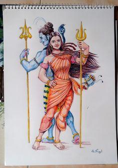 Shiva Art, Krishna Art, Shiva Yoga, Color Pencil Sketch, Shiva Parvati Images, Imagination Art, Friend Cartoon, Snake Art, Hinduism