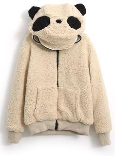 9b49e981841ae Light Yellow Hooded Long Sleeve Panda Style Outerwear Latest Street  Fashion