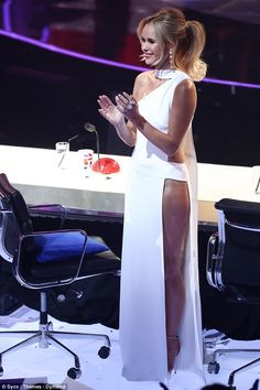 Amanda Holden and Alesha Dixon up the glamour for BGT semi-finals Amanda Holden Bgt, Britain's Got Talent, Alesha Dixon, Revealing Dresses, White Gowns, Amanda Seyfried, Event Dresses, Sexy Outfits, Beautiful People