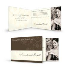 Einladungskarte Amanda und GeraldUnser romantisches Kartendesign  Amanda und Gerald haben wir im besonderen Klappkartenformat 21 x 10 mit der verkürzten Kartenfront im Sortiment. An Ihre Gäste versenden Sie diese Karten mit einem Standardporto. Wenn Weiß- oder Cremetöne Ihre Hochzeit dominieren, ist dieses stimmungsvolle Kartenlayout genau das Richtige für Sie, da es ganz wunderbar mit einer schlichten, puristischen Tischdekoration harmoniert. Ihr Foto auf der Vorderseite ist ein ...