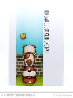 Lucky Dog, Grassy Fields Die-namics, English Brick Wall Stencil - Francine Vuillème  #mftstamps