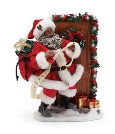 Department 56 Possible Dreams Santas Knock, Figurine, Multicolor Black Christmas Decorations, Christmas Images, Santa Christmas, Christmas Home, Christmas Stockings, Christmas Wreaths, Father Christmas, Christmas Stuff, Christmas Crafts