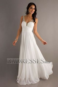 Sheath/Column Straps V-neck Chiffon Prom Dress - IZIDRESSES.COM