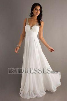 Sheath/Column Straps V-neck Chiffon Prom Dress - IZIDRESSES.COM
