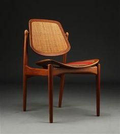 Arne Vodder; Teak, Cane and Brass Dining Chair, 1956.