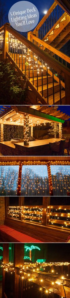 See how fast our deck lighting ideas will inspire you! You will love these 5 ways to use outdoor string lights as deck lights and on the patio! Make this the summer you give your backyard deck a beaut (Patio Step With Railing) Backyard Lighting, Patio Lighting, Landscape Lighting, Lighting Ideas, Wedding Lighting, Diy Patio, Backyard Patio, Diy Deck, Backyard Landscaping