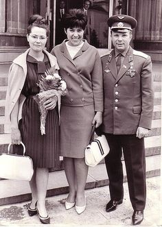Yuri Gagarin (Russian cosmonaut, first human in space), his wife Valentina Gagarina (left) and Sima Eyvazova (Soviet diplomat) in Sofia, Bulgaria, 1966