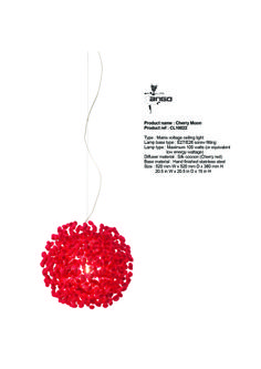 CHERRY MOON - haning lamp. Also available in black colored cocoons (midnight moon) or natural color cocoons (full moon). www.udogangl.com D 20, Lamp Bases, Diffuser, House Decorations, Full Moon, Lamps, Red, Cherry, Color