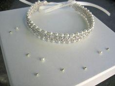 Bridal Bun Jewelry Wrap. Wedding Art Deco Bun Wrap.Rhinestone Bun Wrap. Ivory…