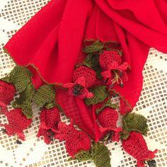 Turkish OYA Lace - Flower stole - Red Tulip by DaisyCappadocia on Etsy Lace Flowers, Crochet Flowers, Red Tulips, Crochet Art, Needle Lace, Couture, Neck Warmer, Burlap Wreath, Crochet Projects