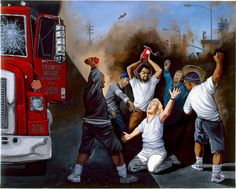 """Sandow Birk, """"The Bashing of Reginald O. Denny,"""" 1992. Oil on canvas. 36 x 48 inches. Courtesy of the artist."""