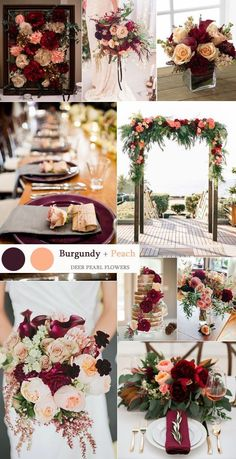 burgundy and peach fall wedding colors ideas / http://www.deerpearlflowers.com/top-8-burgundy-wedding-color-palettes-youll-love/