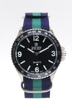Prep Classic Diver Watch with Navy/Green Band. Beautiful Watches, Beautiful Men, Cool Watches, Watches For Men, Men's Watches, Watch Bands, Watch 2, Men Watch, Preppy Men