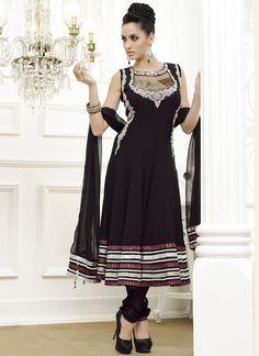 4e1ed10d99e Enigmatic Black Georgette Anarkali Suit Indian Salwar Kameez, Churidar,  Salwar Kameez Online, Anarkali