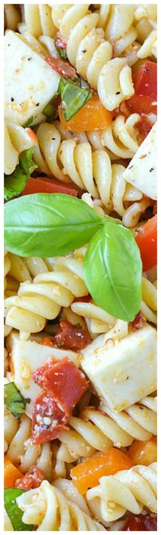 Delicious Roasted Red Pepper Bruschetta Pasta Salad ~ Tossed with bell peppers, chunks of mozzarella cheese and chopped basil.