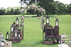 Wooden Crate, Lantern & Floral Arch Altar | Eden at Broughton Hall Wedding | Outdoor Ceremony | Ava Rose Hamilton Wedding Dress | Mark Tattersall Photography | http://www.rockmywedding.co.uk/jade-josh/