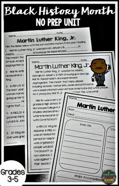 These Black History Month Reading Activities will keep your kids interested all month. The no prep worksheets include reading passages, graphic organizers, comprehension and more!