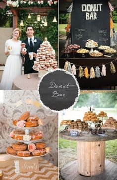 8 food stations your guests are sure to love! Donut bar is a great idea. Very vintage wedding esc!