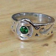 Green Lantern engagement or wedding ring, custom-made