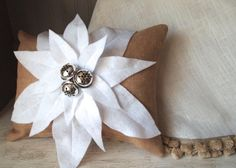 Ready to ship Burlap Christmas pillow by TheBurlapCottage on Etsy, $45.00