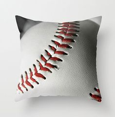 Black White & Red Baseball Decorative by NaturalLightStudio