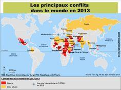 Carte des principaux #conflits dans le monde en 2013. Source: © HISTGEOGRAPHIE.COM, d'après nato.org, hiik.de, Sipri Yearbook 2013