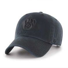 3ec5ccd4fa9 Milwaukee Brewers 47 Brand All Black Clean Up Adjustable Hat