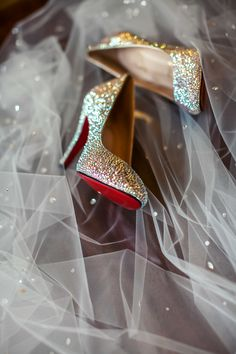 CUSTOM JEWELED Christian Louboutin Shoes -- Amazing Story... Read about it on #SMP right here: http://www.StyleMePretty.com/2014/05/09/traditional-elegance-at-the-royal-park-hotel/ Photography: TheShootingGallery.com