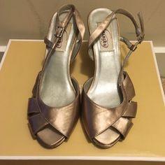 Tan Heels Loved, tan open toe heels. Worn as bridesmaid shoes! Shoes Heels