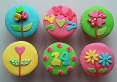 Bright & Flowery Birthday Cupcakes by The Coloured Bubble Cakery - Find us on Facebook!