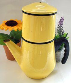 French Vintage Enamel Yellow  Coffee Pot on Etsy, $38.00