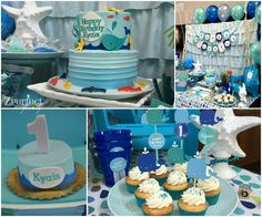 First Birthday Whale Theme Party: Modern Whale Design to celebrate 1st Birthday with family and friends. Custom event featuring whale theme sweet and dessert and lunch menu with tuna bites, sub sandwiches and other creative food.