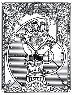 Steampunk Wrapped Hand With Heart Clock Printable Coloring Book Page