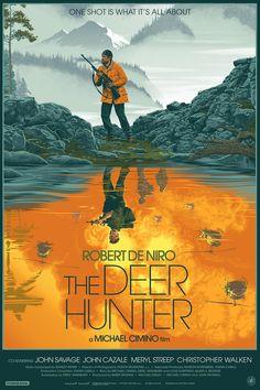 The Deer Hunter Laurent Durieux Poster Screen Print Mondo Nautilus De Niro Best Movie Posters, Movie Poster Art, John Cazale Meryl Streep, Laurent Durieux, John Savage, Nautilus, Hunter Movie, Vietnam Voyage, War Film