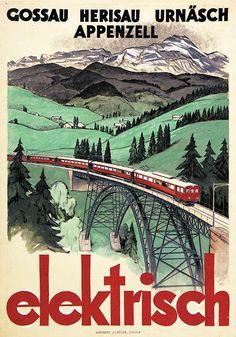 Gossau - Herisau - Urnäsch - Appenzell. elektrisch.  Plakat für die Appenzeller Bahn von Kagler.