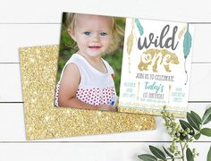 Picture Invitations, Photo Birthday Invitations, Tribal Arrows, Floral Invitation, Wild Ones, Printable Invitations, First Photo, Girl Birthday, First Birthdays