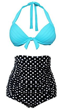 Cocoship Vintage Light BLue Top Black White Polka Bottom High Waisted Bikini Swimsuits Bathing Suit M(FBA) COCOSHIP http://smile.amazon.com/dp/B011HOJUK8/ref=cm_sw_r_pi_dp_6SP8wb15TNJZ4