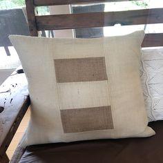 Charcoal Gray Linen with Natural and Cream Burlap Lumbar Pillow Cover