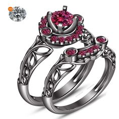 Pink Sapphire 14k Black Gold Filled 0.82 CT Women's Bridal Ring Set W/ Free Gift #aonejewels