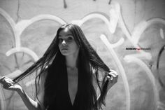 Black and white night outdoor portrait of german model Nathalie Volk in natural light