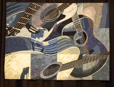 Guitar Blues by Julie Poirier-Mathur and the Beaconsfield Quilters' Guild,  Quebec, Canada.  Posted by Joen Wolfrom