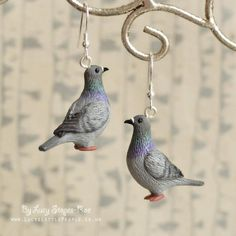 Tiny Hand-Sculpted Pigeon Pendant with Chain or Pair of Pigeon Earrings Funky Earrings, Funky Jewelry, Cute Jewelry, Hair Jewelry, Jewelry Accessories, Jewelry Design, Biscuit, Clay Creations, Pigeon